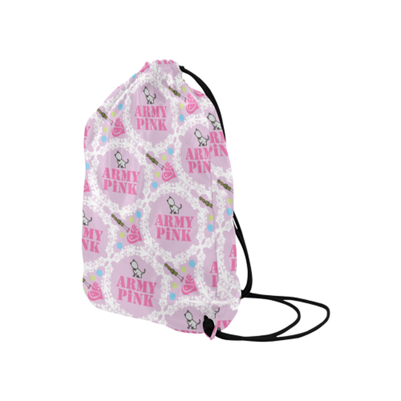 Pink white wreath Drawstring Bag ${product-type) ${shop-name)
