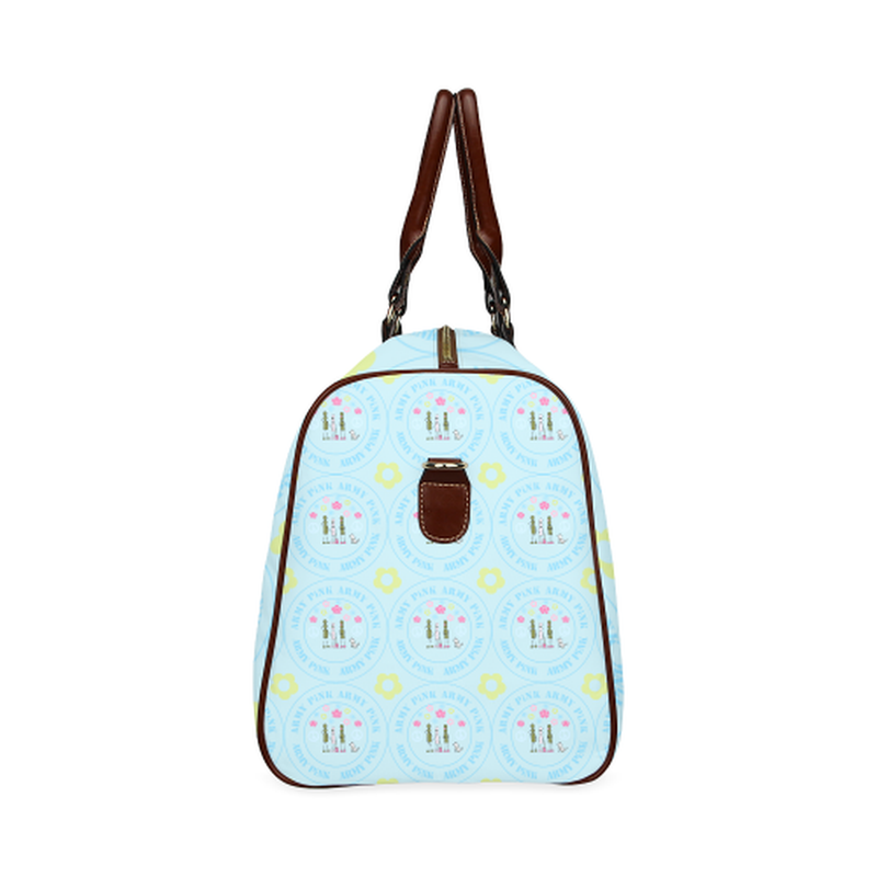 small travel marchers round aop on teal Waterproof Travel Bag/Small (Model 1639) for  at ARMY PINK