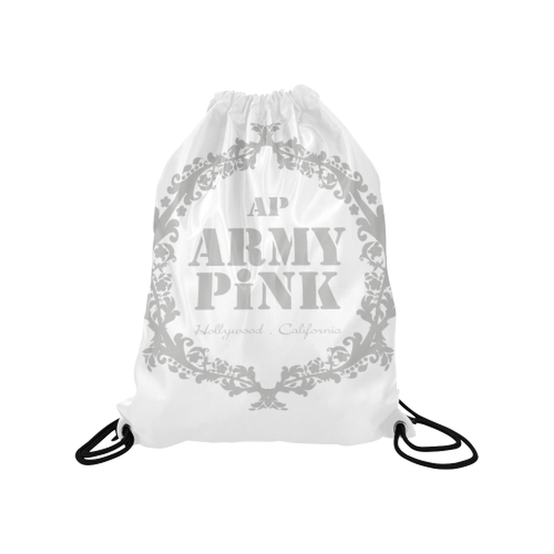 "Gray wreath on white Medium Drawstring Bag Model 1604 (Twin Sides) 13.8""(W) * 18.1""(H) for  at ARMY PINK"