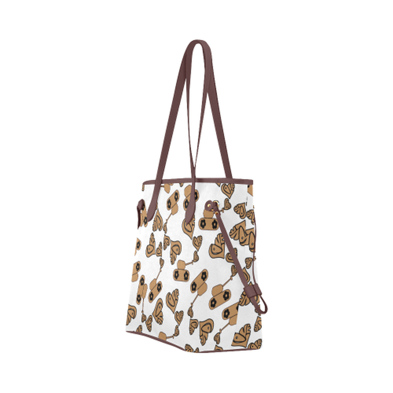 Tan love tanks on white Clover Canvas Tote Bag (Model 1661) for  at ARMY PINK