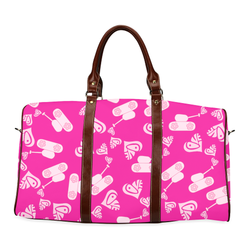 large travel bag light pink love tank on pink Waterproof Travel Bag/Large (Model 1639) for  at ARMY PINK