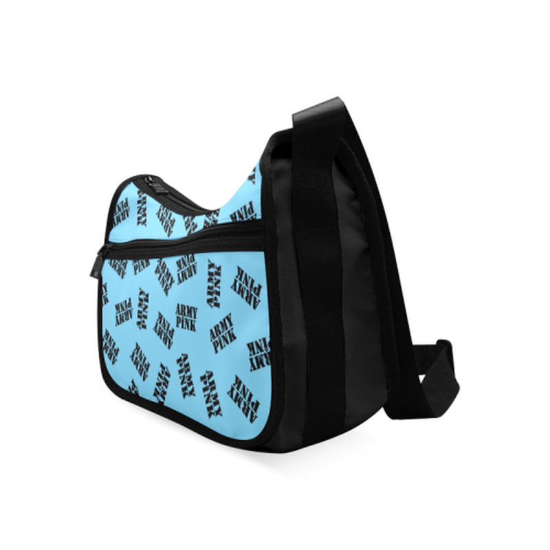 Black stamps on bright blue Crossbody Bags (Model 1616) for  at ARMY PINK