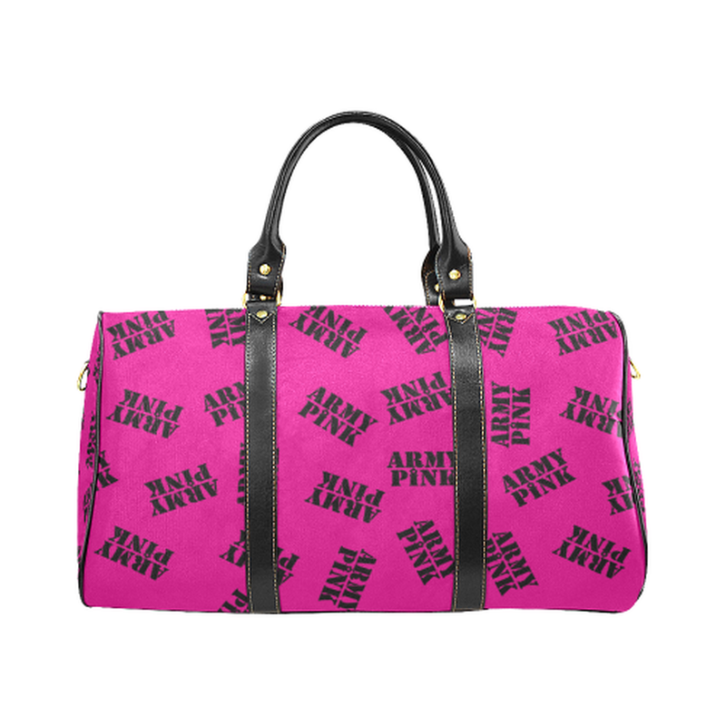 Small pink black stamp Travel Bag for  at ARMY PINK