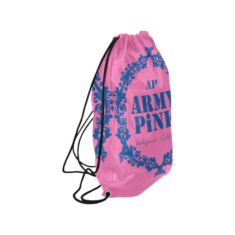 Pink blue wreath Drawstring Bag for  at ARMY PINK