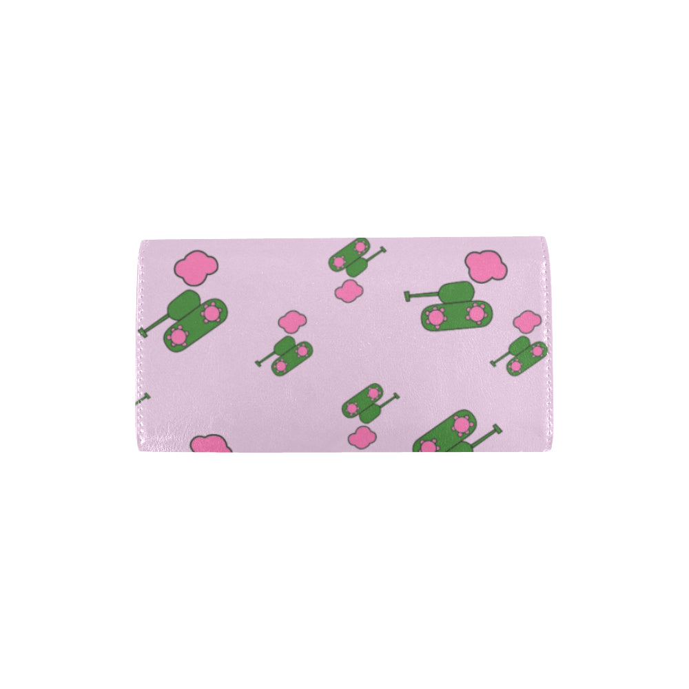 Tanks and clouds pink Trifold Wallet