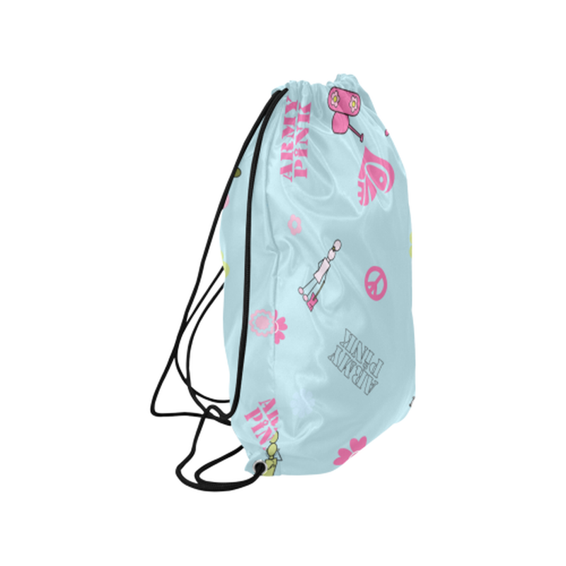 "Logo print on pastel blue Medium Drawstring Bag Model 1604 (Twin Sides) 13.8""(W) * 18.1""(H) for  at ARMY PINK"