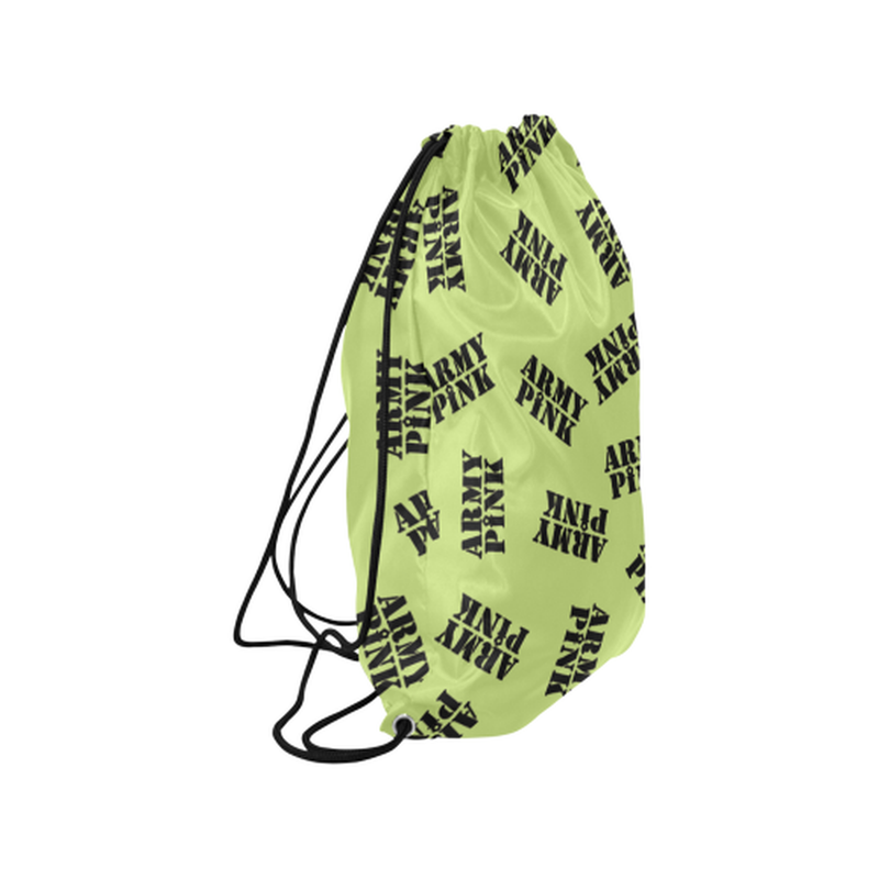 Green black stamp Drawstring Bag ${product-type) ${shop-name)