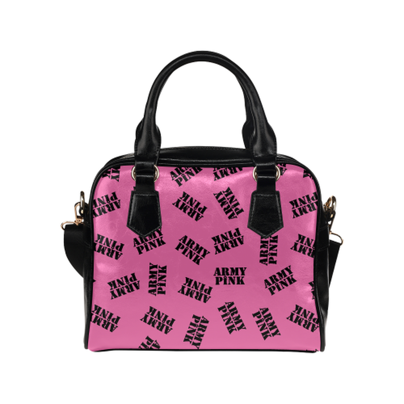 Black stamps on pink Shoulder Handbag ${product-type) ${shop-name)