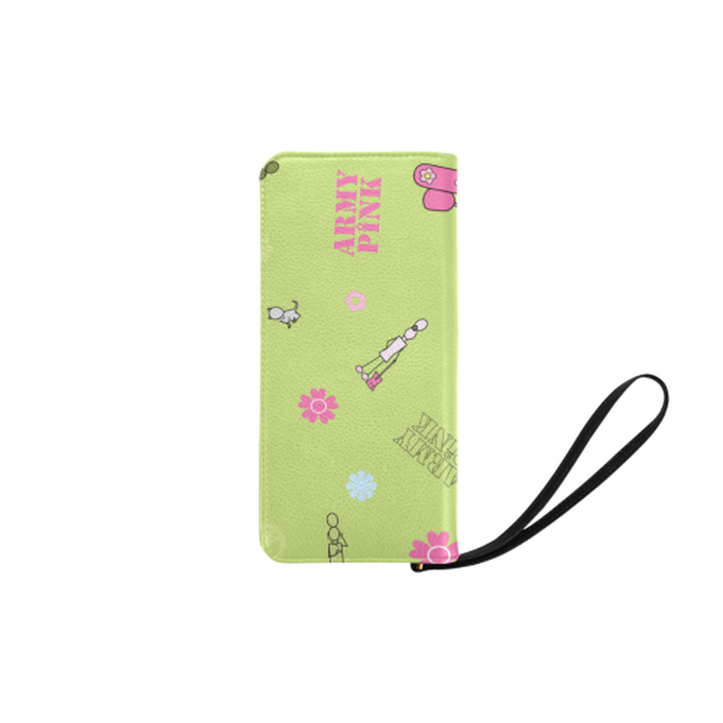 Logo print green Clutch Purse for  at ARMY PINK
