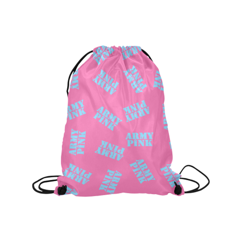 "Blue stamps on pink Medium Drawstring Bag Model 1604 (Twin Sides) 13.8""(W) * 18.1""(H) for  at ARMY PINK"