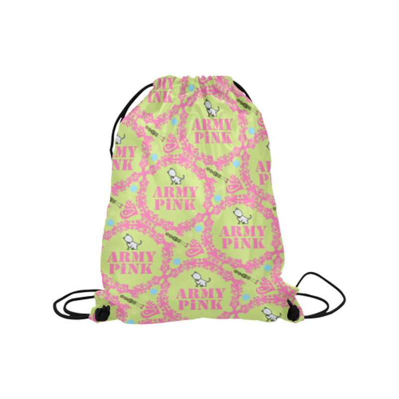 "Pink wreaths on green Medium Drawstring Bag Model 1604 (Twin Sides) 13.8""(W) * 18.1""(H) for  at ARMY PINK"