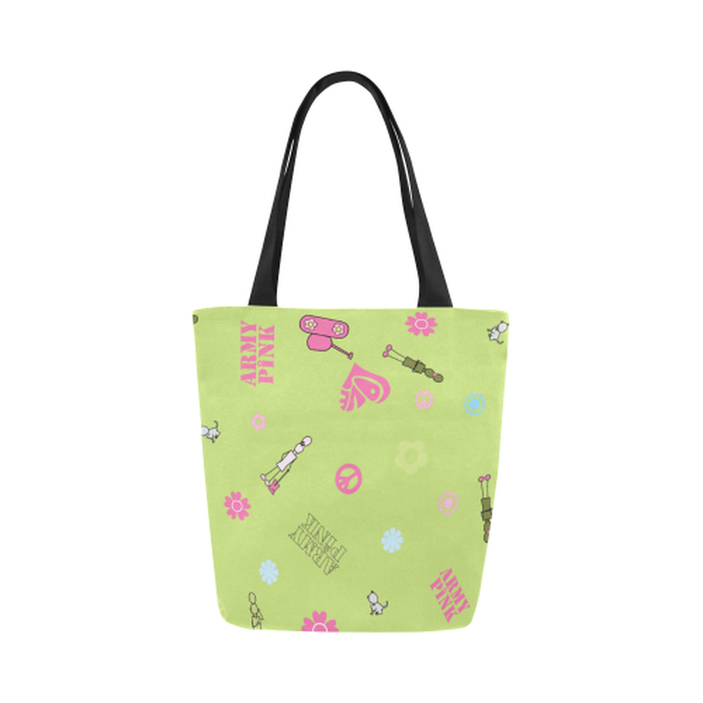 Green logo Canvas Tote Bag for  at ARMY PINK
