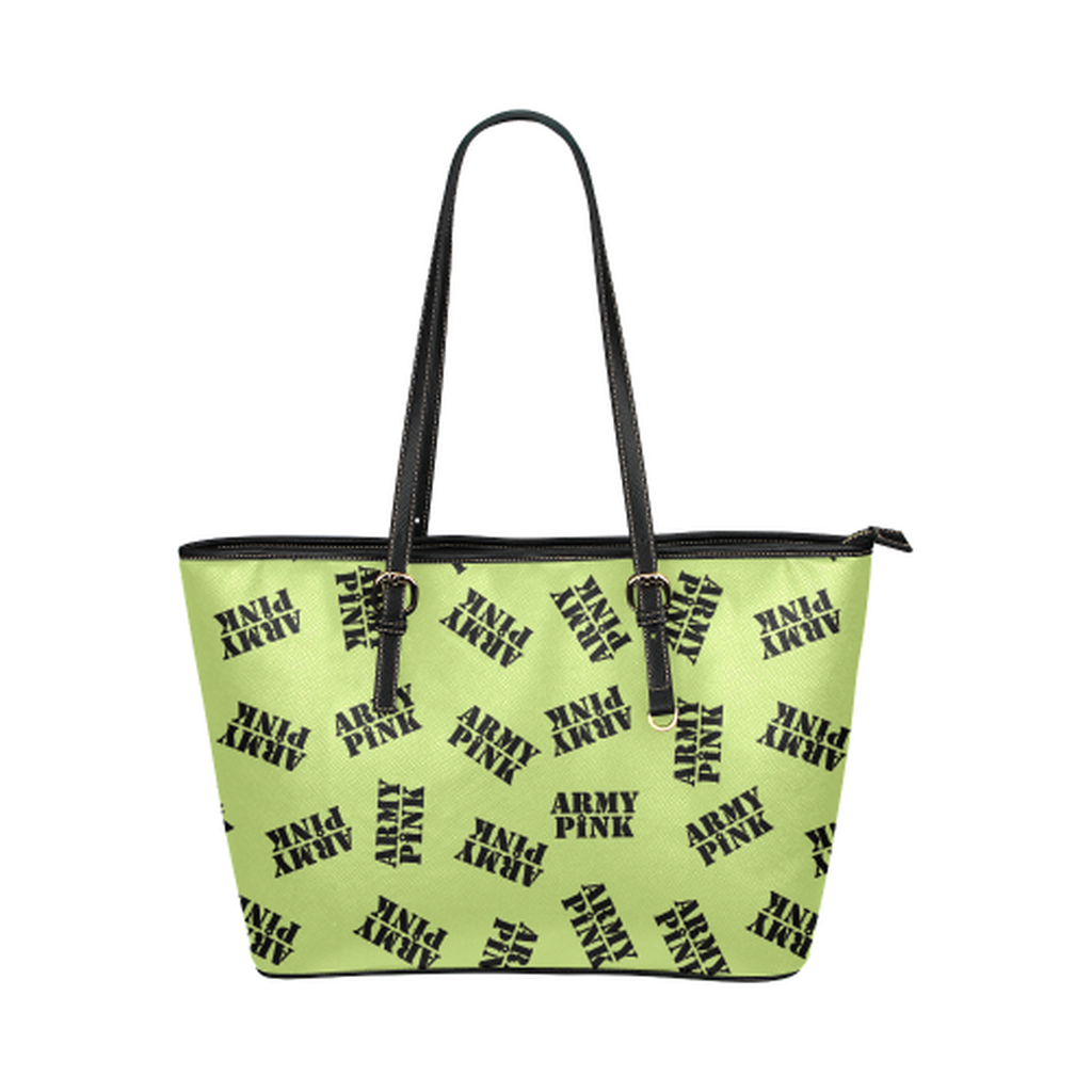 Green black stamp leather Tote Bag for  at ARMY PINK