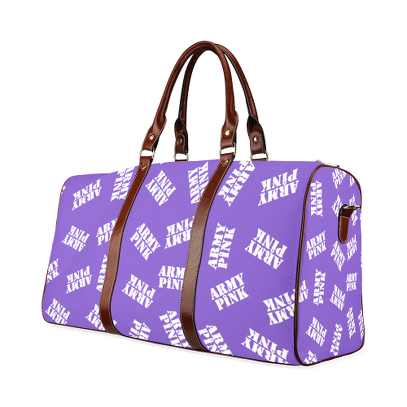 small travel bag army pink stamps in white on purple Waterproof Travel Bag/Small (Model 1639) for  at ARMY PINK