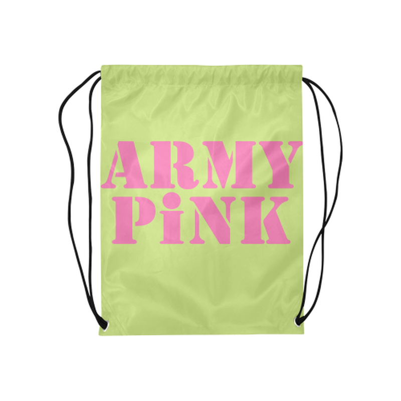 Green Army Pink Drawstring Bag ${product-type) ${shop-name)
