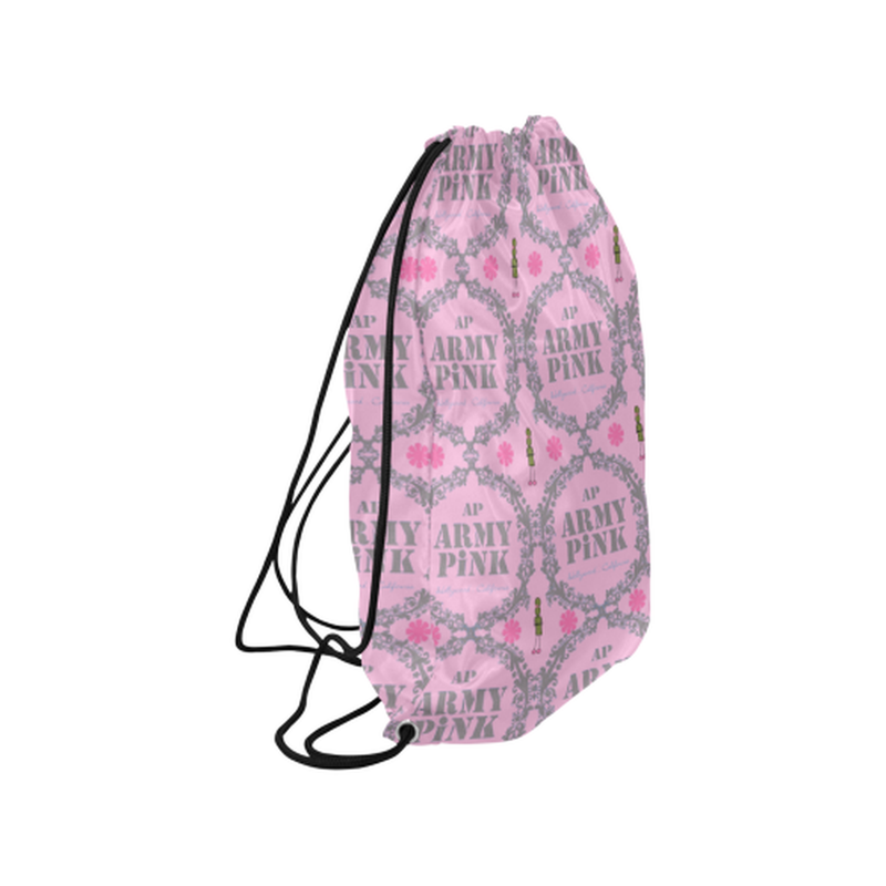 "Gray wreath on pink Medium Drawstring Bag Model 1604 (Twin Sides) 13.8""(W) * 18.1""(H) for  at ARMY PINK"