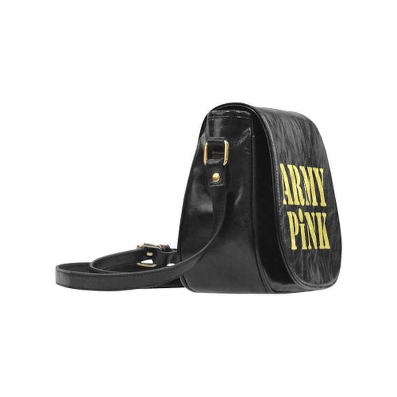 Gold Army Pink on Black Small Classic Saddle Bag ${product-type) ${shop-name)