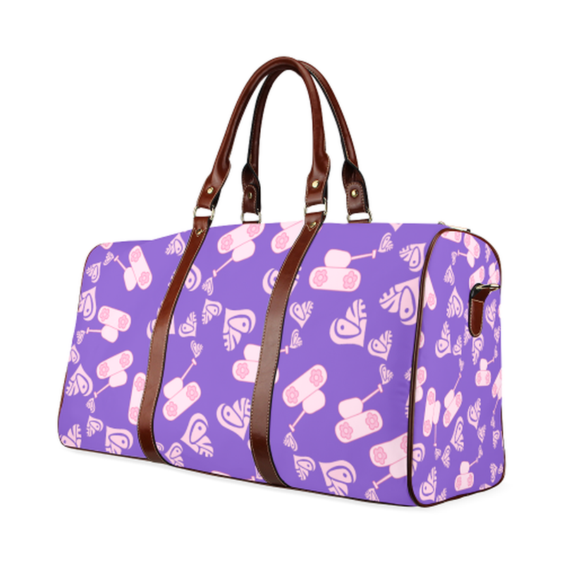 large travel bag light pink love tanks on purple Waterproof Travel Bag/Large (Model 1639) for  at ARMY PINK