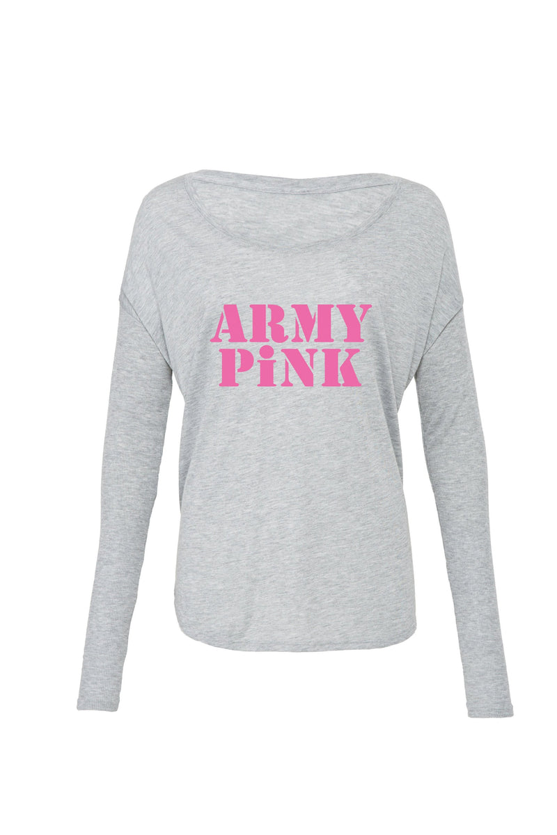 Athletic Heather Long Sleeve: Pink Army Pink Logo for 40.00 at ARMY PINK