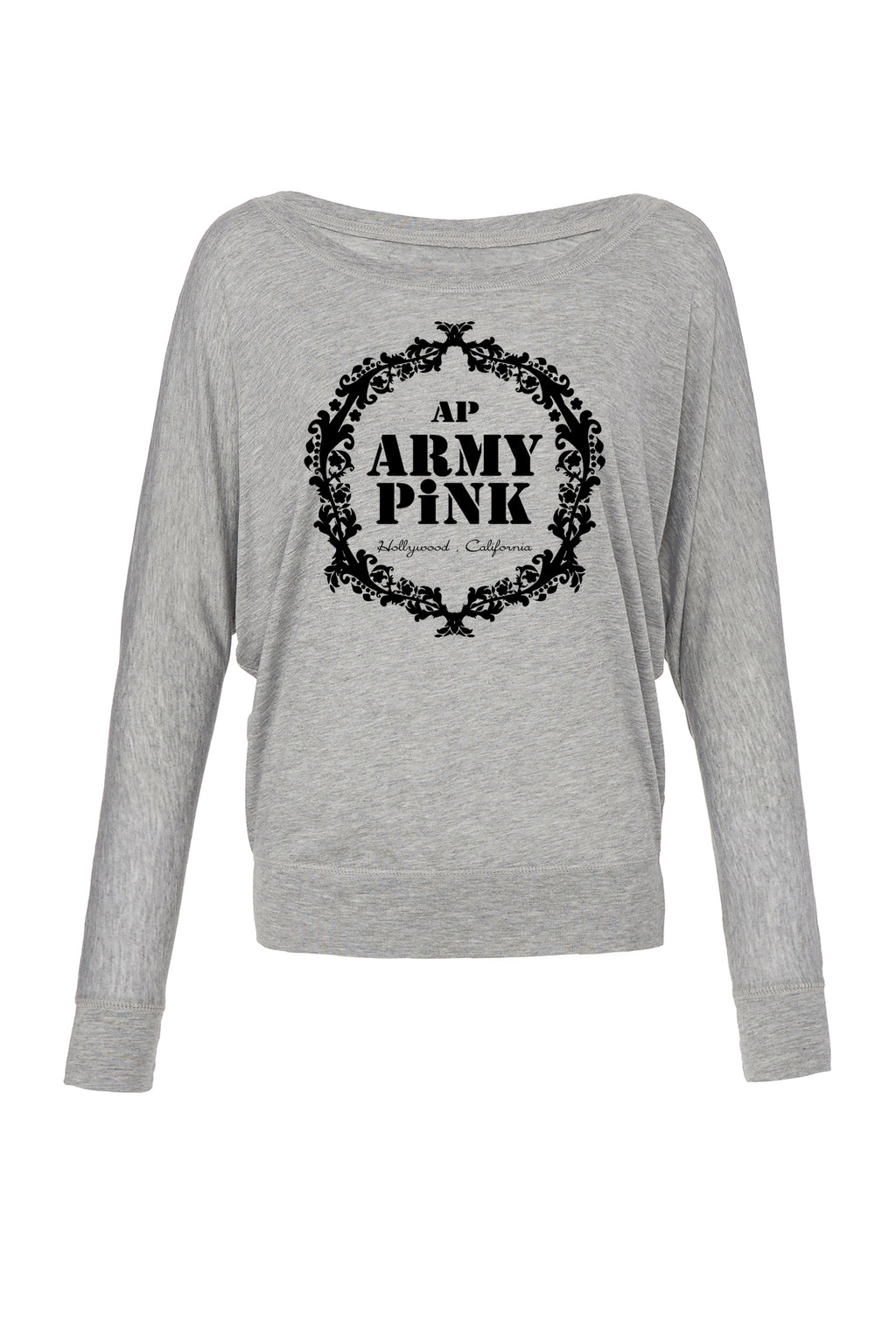Athletic Heather Graphic Long Sleeve: Black Army Pink Wreath for 42.00 at ARMY PINK