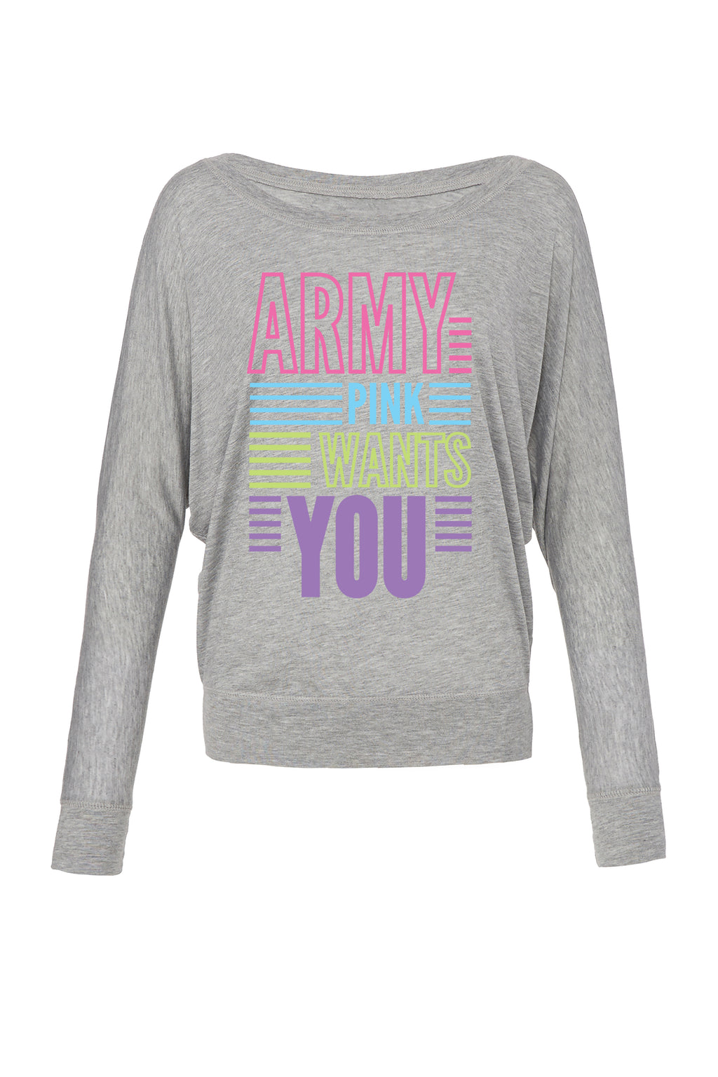 Athletic Heather Graphic Long Sleeve: Army Pink Wants You for 42.00 at ARMY PINK