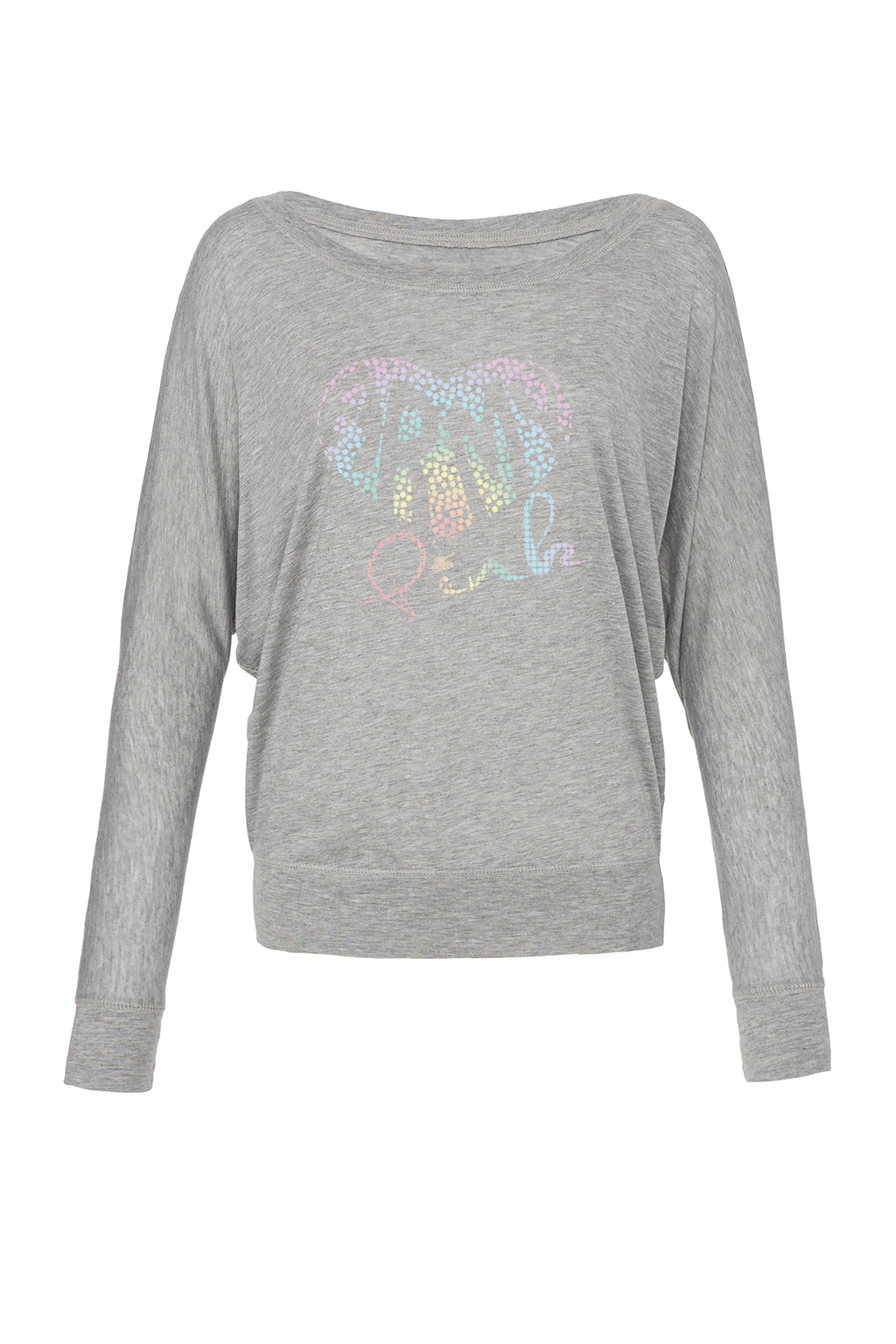 Athletic Heather Graphic Long Sleeve: Pastel Dotted Heart for 42.00 at ARMY PINK