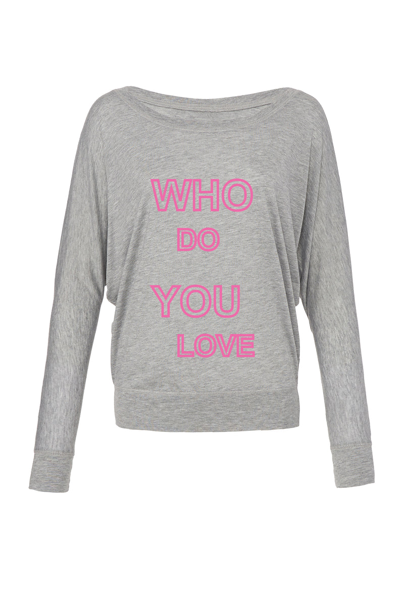 Athletic Heather Long Sleeve: Pink Who Do You Love for 42.00 at ARMY PINK