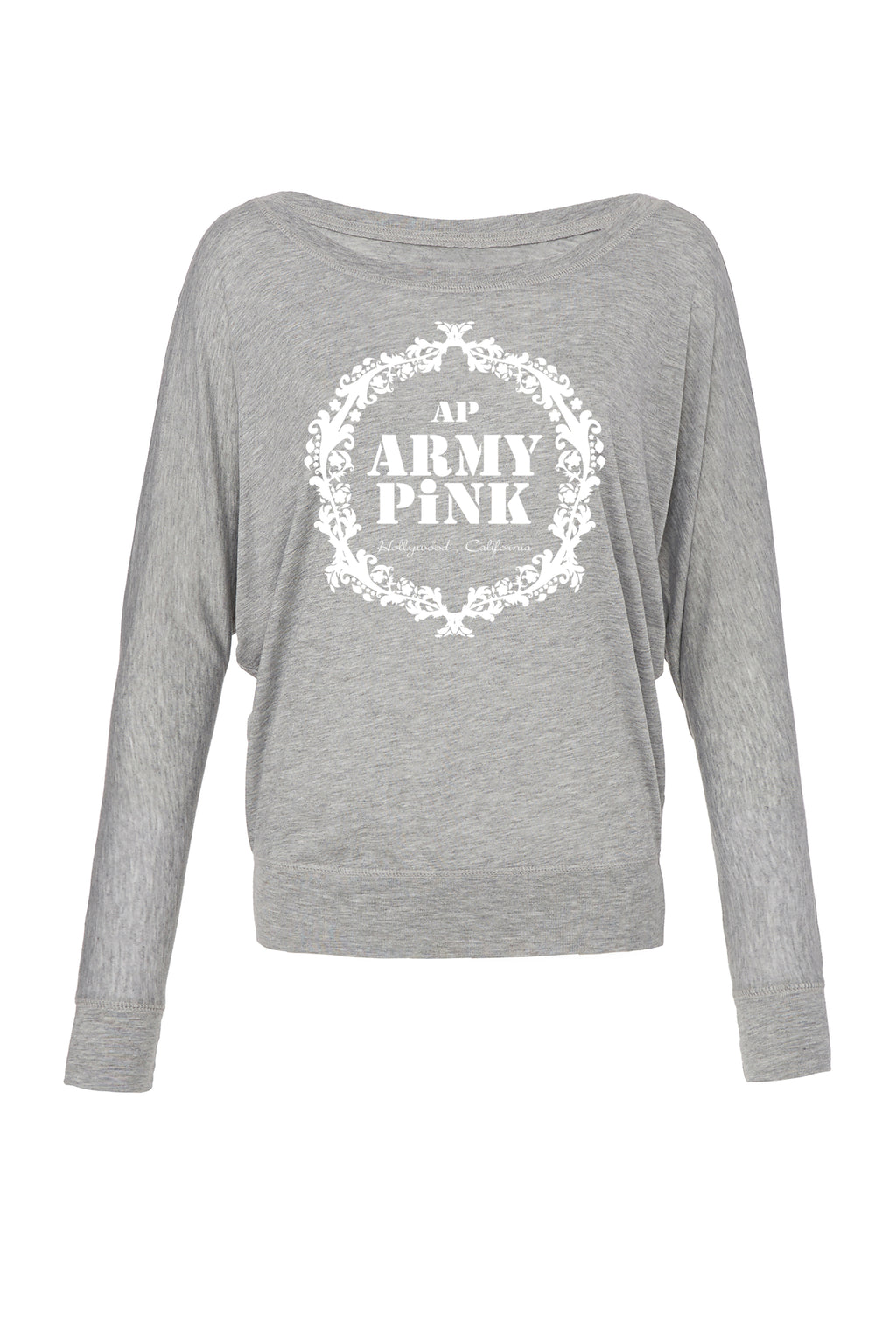 Athletic Heather Graphic Long Sleeve: White Army Pink Wreath for 42.00 at ARMY PINK