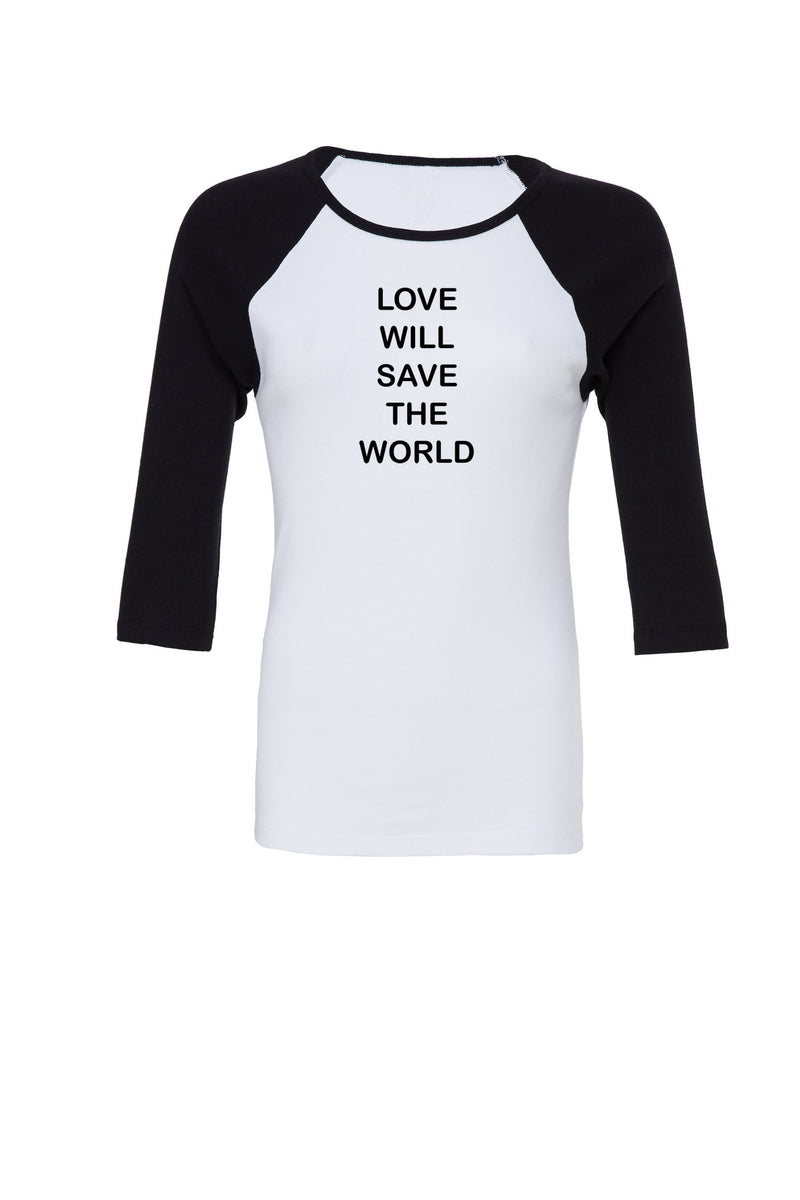 Black and white Raglan Sleeve top with love will save graphic for 34.00 at ARMY PINK