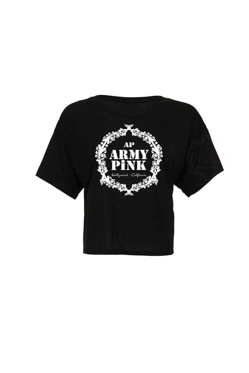 Black Flowy Boxy tee with white wreath graphic for 30.00 at ARMY PINK