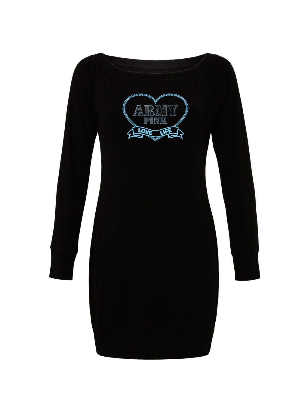 Black Lightweight Sweater Dress with blue love life heart graphic for 55.00 at ARMY PINK