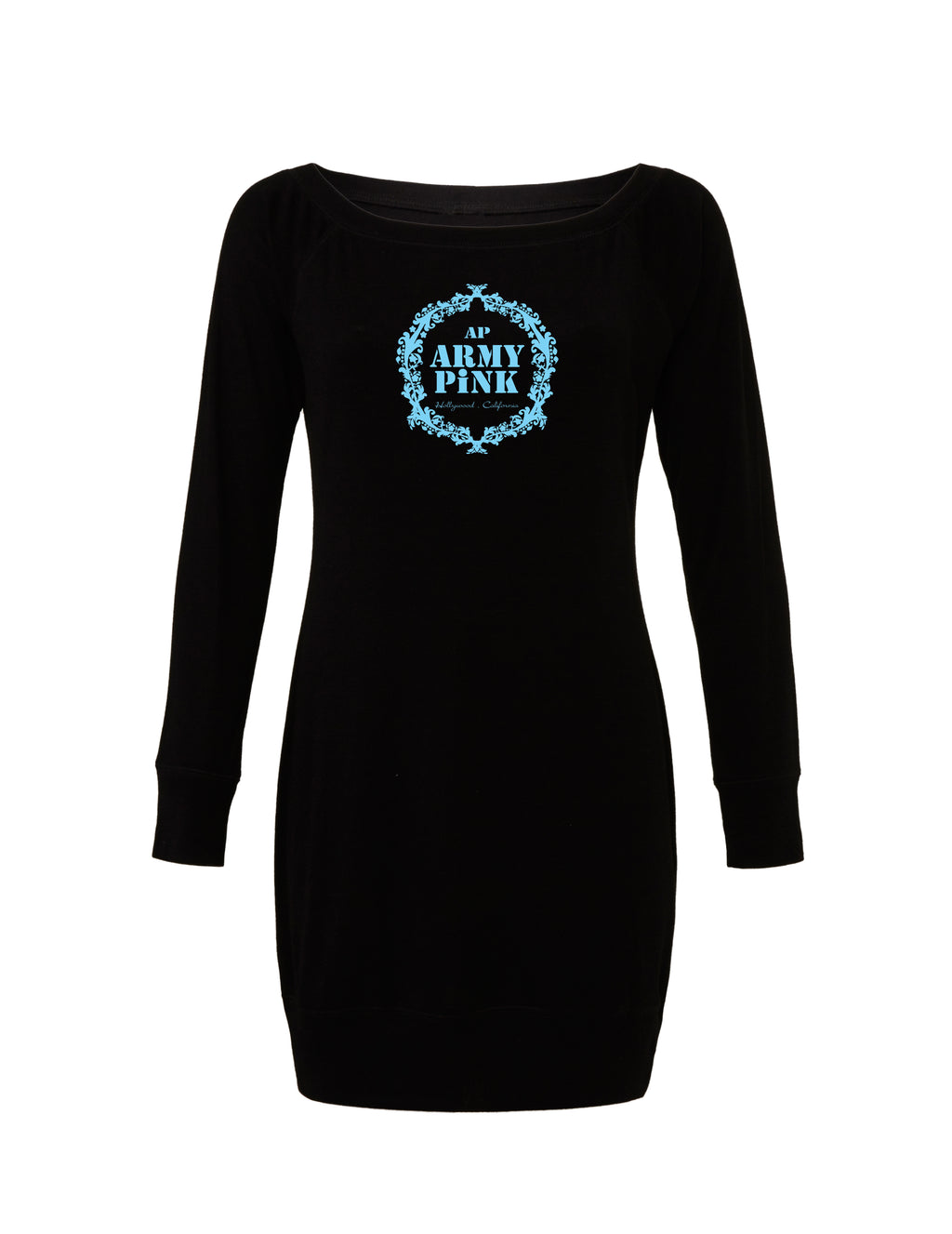 Black Lightweight Sweater Dress with blue teal wreath graphic for 55.00 at ARMY PINK