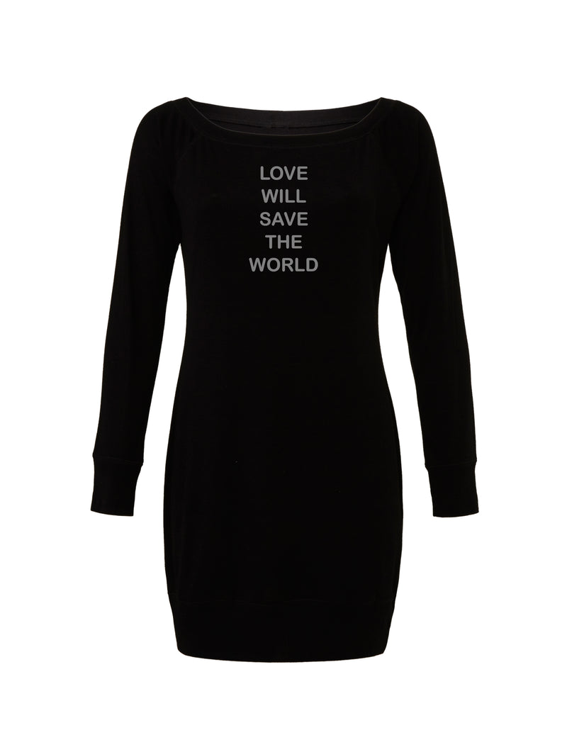 Black Lightweight Sweater Dress with gray love will save graphic for 55.00 at ARMY PINK