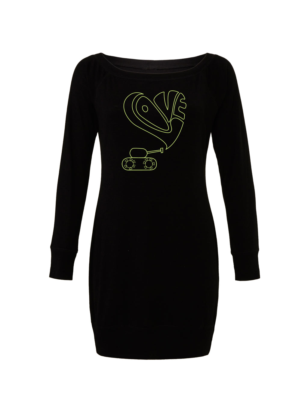 Black Lightweight Sweater Dress with green love tank graphic for 55.00 at ARMY PINK