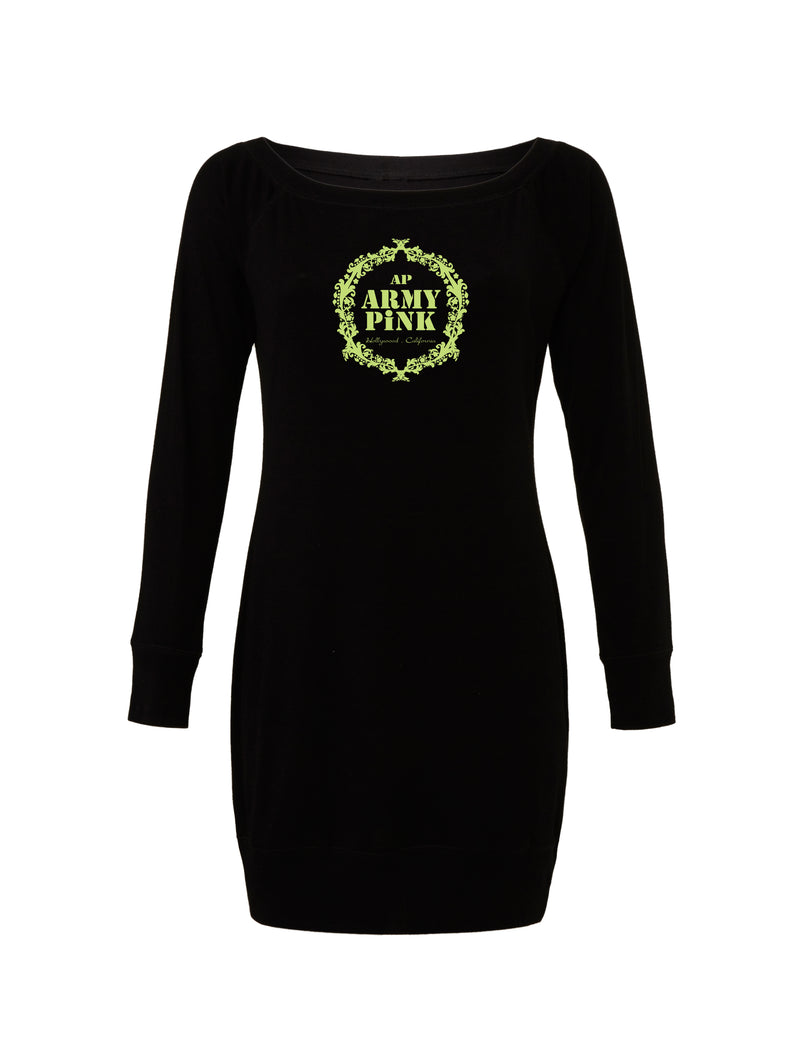 Black Lightweight Sweater Dress with green wreath graphic for 55.00 at ARMY PINK
