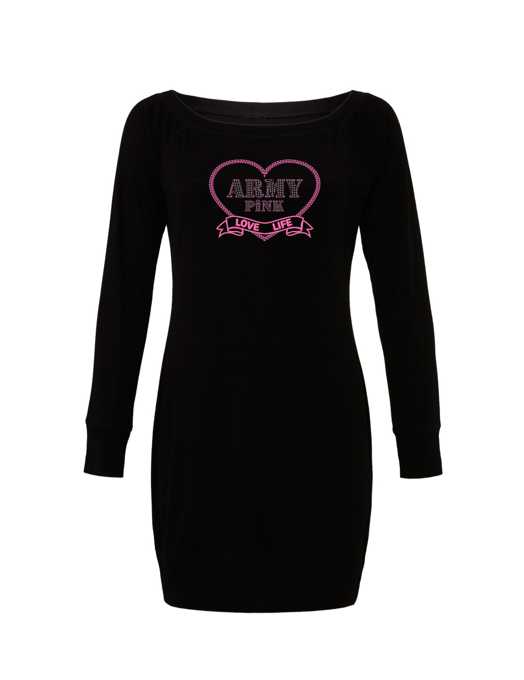 Black Lightweight Sweater Dress with pink love life graphic for 55.00 at ARMY PINK