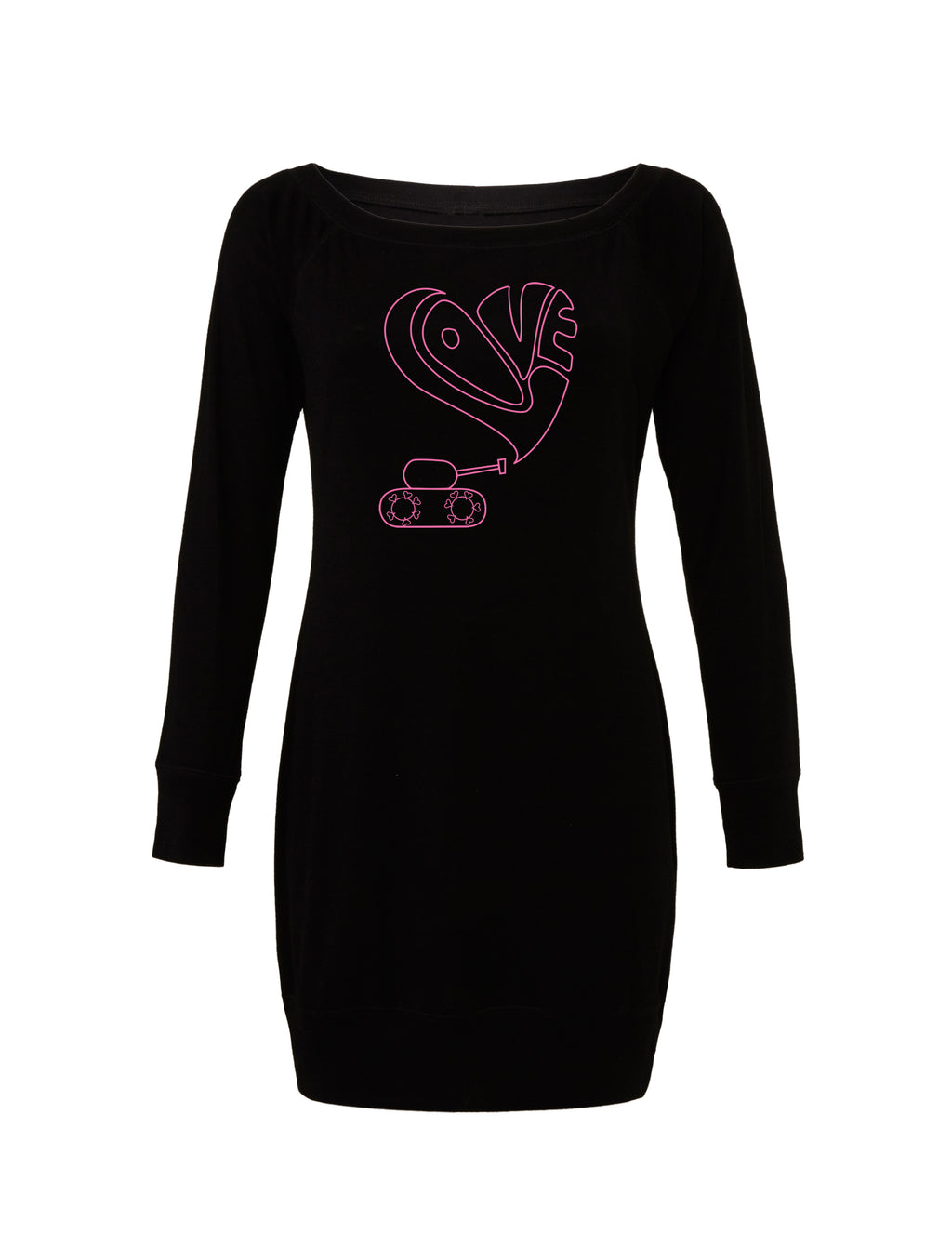 Black Lightweight Sweater Dress with pink love tank graphic for 55.00 at ARMY PINK