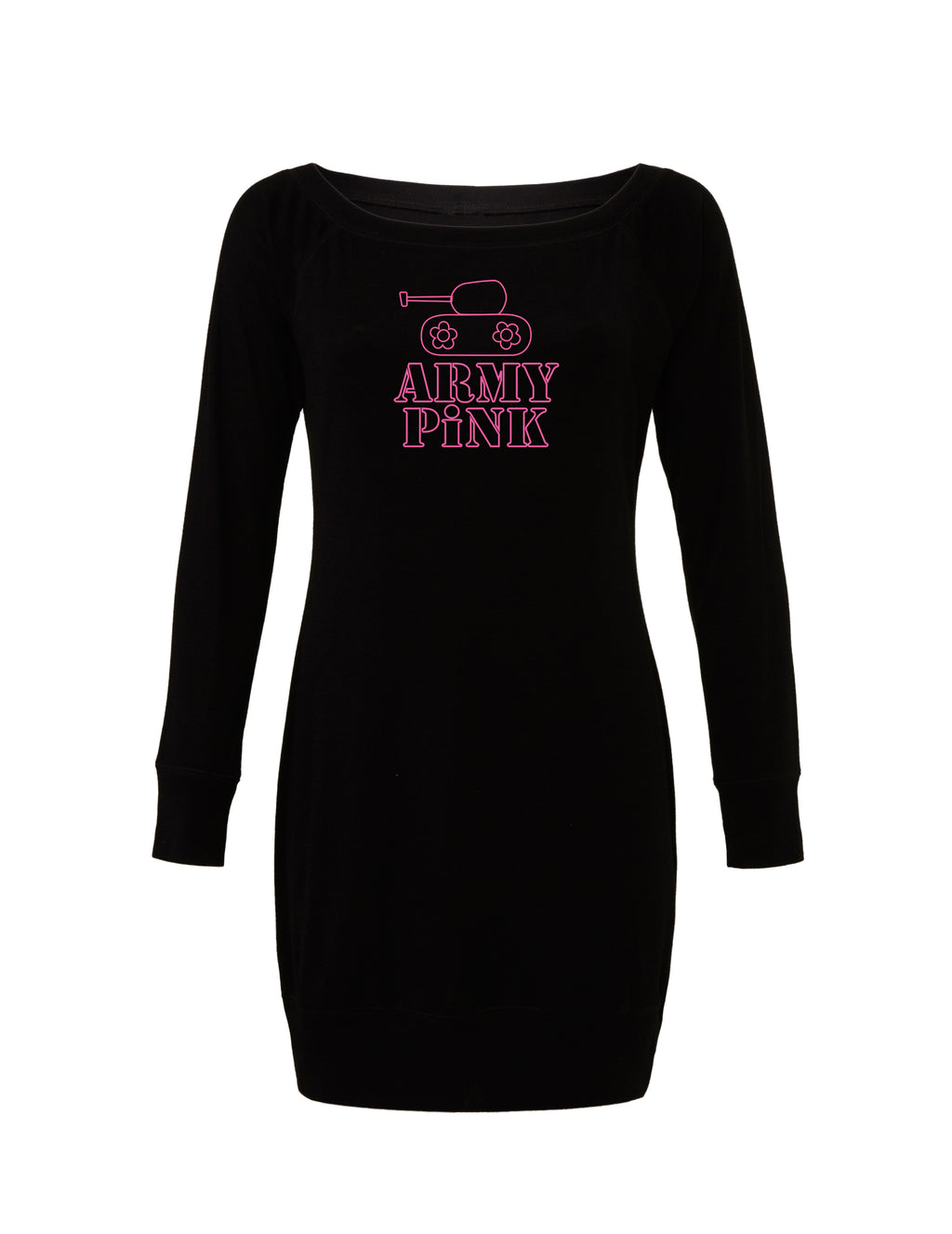 Black Lightweight Sweater Dress with pink tank outline graphic for 55.00 at ARMY PINK