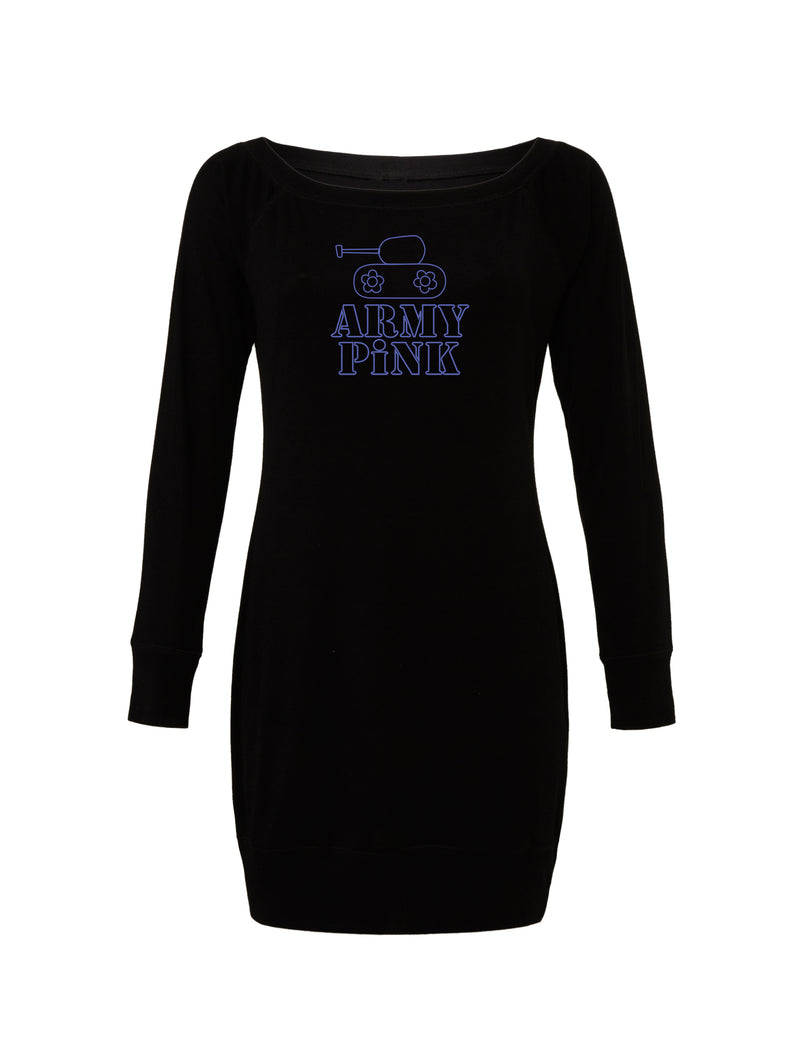 Black Lightweight Sweater Dress with purple tank outline graphic for 55.00 at ARMY PINK