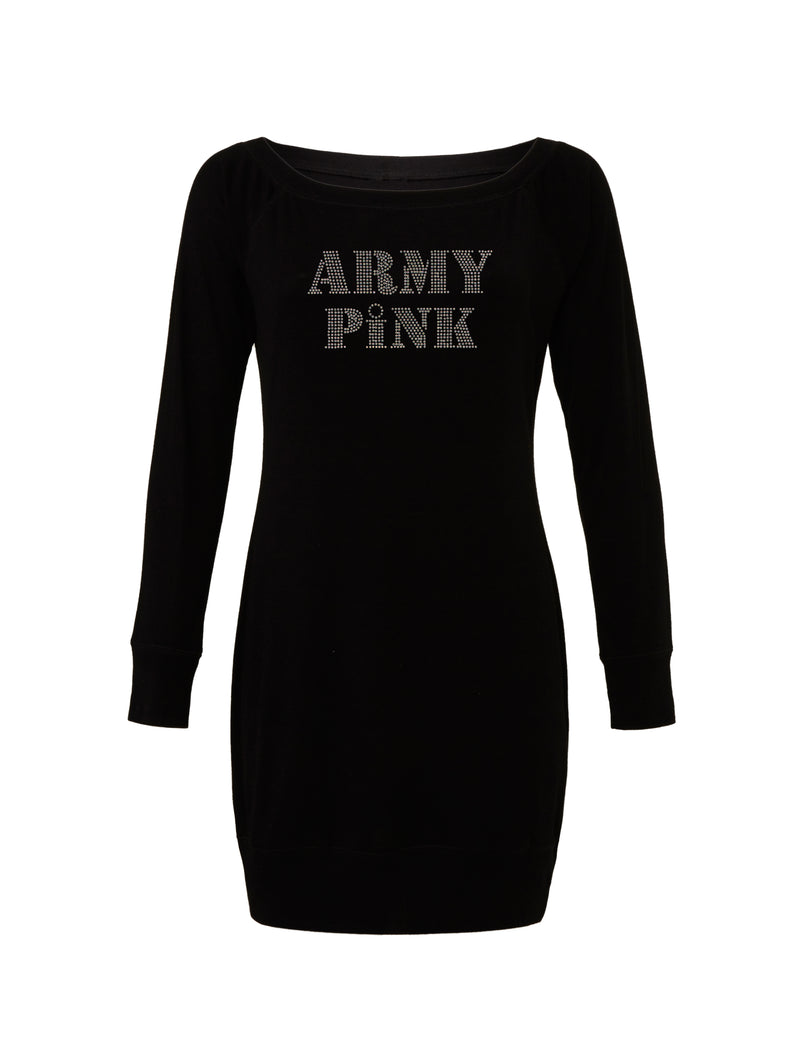 Black Lightweight Sweater Dress with rhinestone logo for 64.00 at ARMY PINK