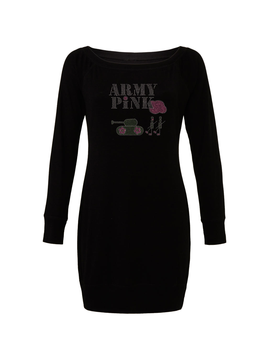 Black Lightweight Sweater Dress with rhinestud logo for 64.00 at ARMY PINK