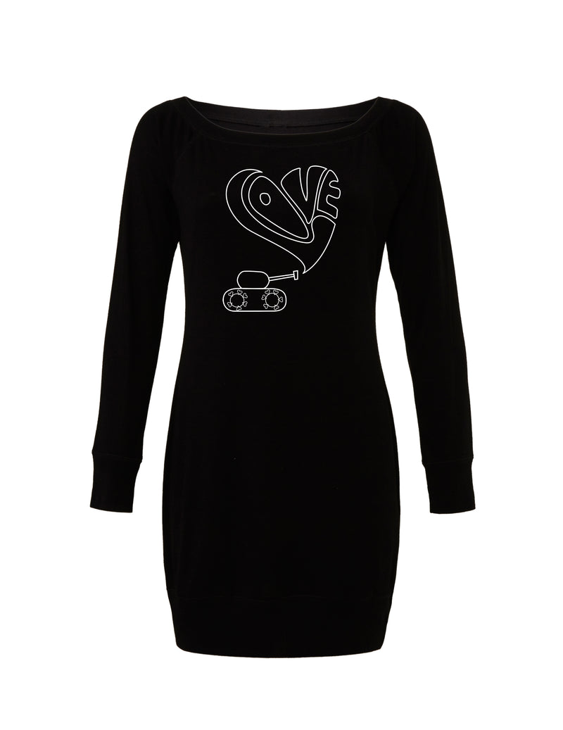 Black Lightweight Sweater Dress with white love tank graphic for 55.00 at ARMY PINK