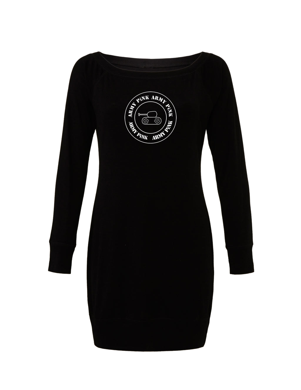 Black Lightweight Sweater Dress with white round tank graphic for 55.00 at ARMY PINK