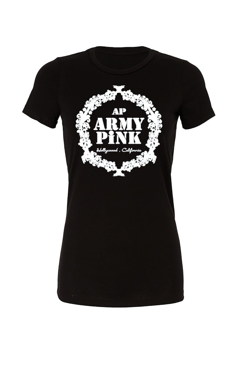 Black T-Shirt with white wreath graphic for 30.00 at ARMY PINK