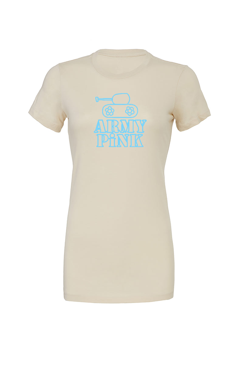 Cream T-Shirt with blue tank logo graphic for 30.00 at ARMY PINK