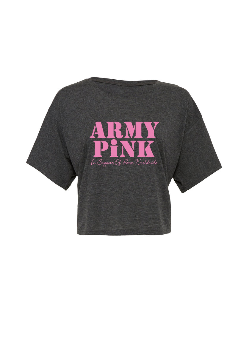 Dark gray heather Flowy Boxy tee with pink Army Pink graphic for 30.00 at ARMY PINK