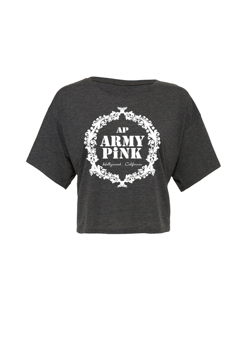 Dark gray heather Flowy Boxy tee with white wreath graphic for 30.00 at ARMY PINK