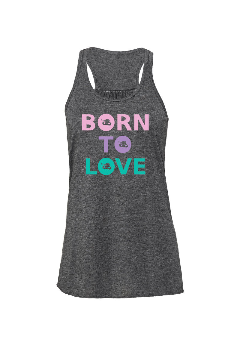Dark Gray Heather Flowy Racerback Tank with pastel born to love graphic for 34.00 at ARMY PINK
