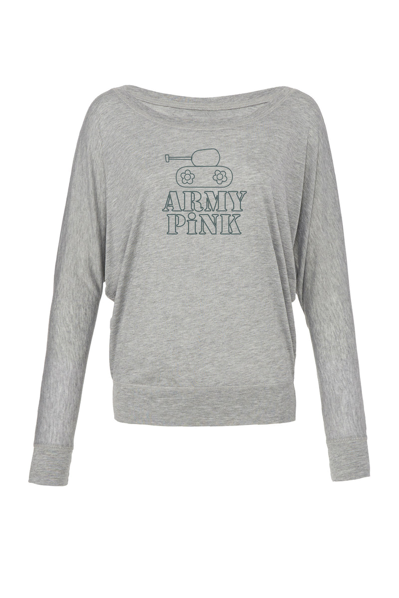 Off Shoulder Athletic Heather Long Sleeve with Tank Logo for 42.00 at ARMY PINK