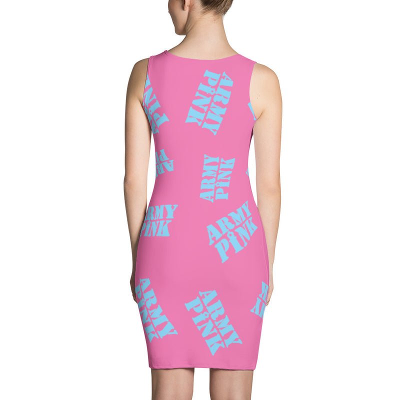 Blue stamp print dress in pink for 44.00 at ARMY PINK